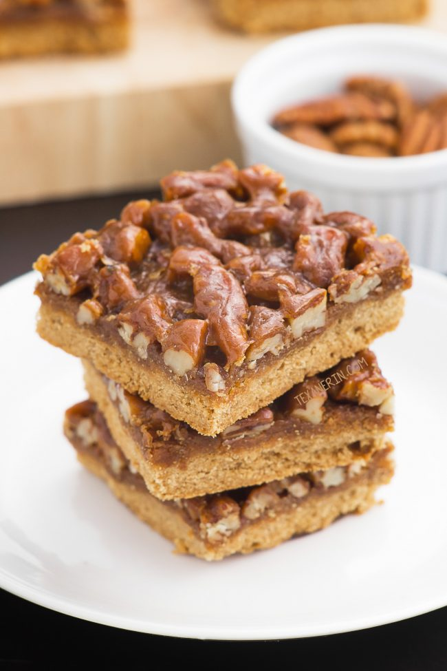 These pecan pie bars with a shortbread crust and a caramel pecan topping can be made with gluten-free, all-purpose or whole wheat flours and are made without corn syrup.