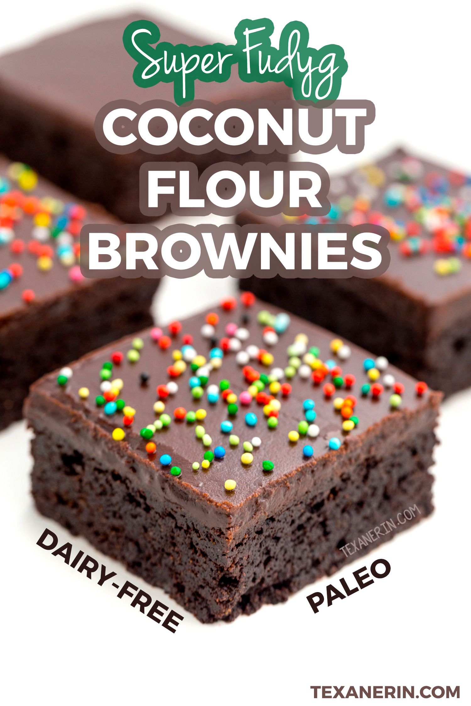 These amazing coconut flour brownies are super fudgy and are also paleo, grain-free and dairy-free! Topped with chocolate fudge frosting.