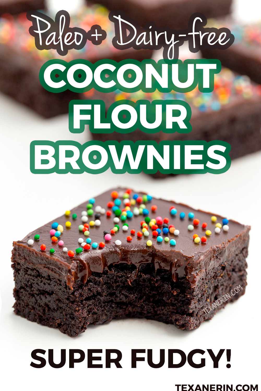 These coconut flour brownies are super fudgy and are also paleo, grain-free and dairy-free! Topped with chocolate fudge frosting.