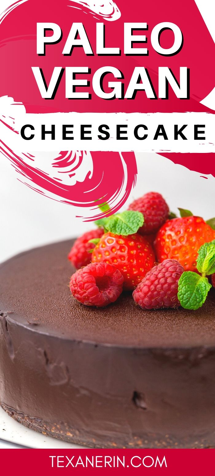 This vegan cheesecake is also paleo and super rich, creamy and decadent! Made with coconut milk, dates and coconut sugar, this no-bake cheesecake is a little healthier than a traditional one.