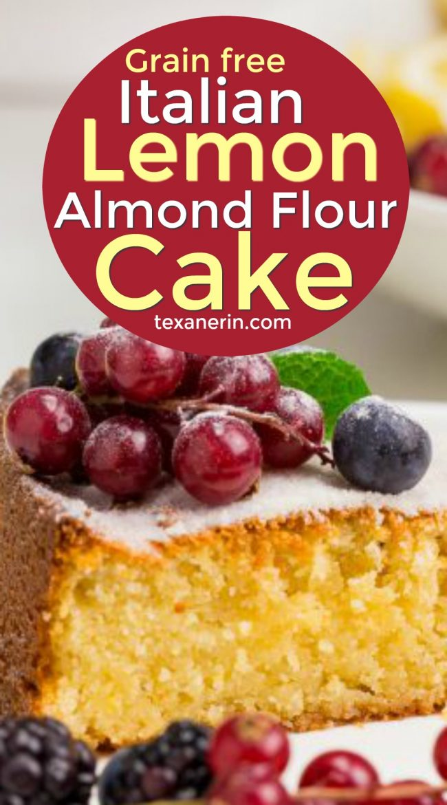 This grain-free Italian lemon cake (also known as torta caprese bianca) is made with almond flour and is full of delicious lemon flavor!
