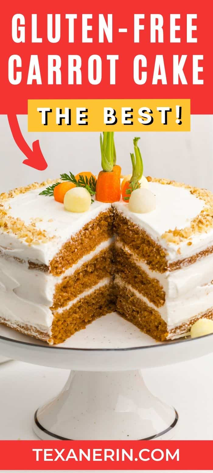 This gluten-free carrot cake is perfectly spiced, fluffy and nobody will have a clue that it's missing the gluten! The best carrot cake I've ever had – and I can eat gluten. With a delicious, slightly less sugary cream cheese frosting.