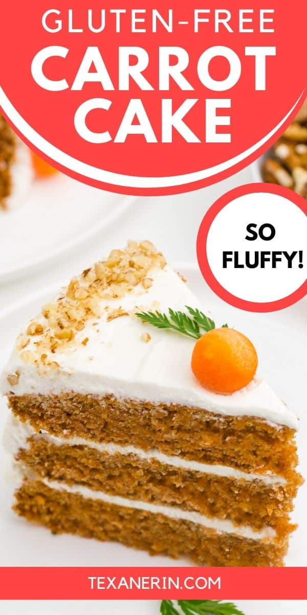 This gluten-free carrot cake is perfectly spiced, fluffy and nobody will have a clue that it's missing the wheat! The best carrot cake I've ever had – and I can eat gluten. With a delicious, slightly less sugary cream cheese frosting.