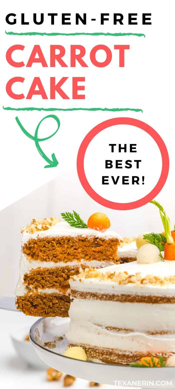 This gluten-free carrot cake is perfectly spiced, fluffy and nobody will have a clue that it's missing the gluten! The best carrot cake I've ever had – and I can eat gluten. With an amazing, slightly less sugary cream cheese frosting.