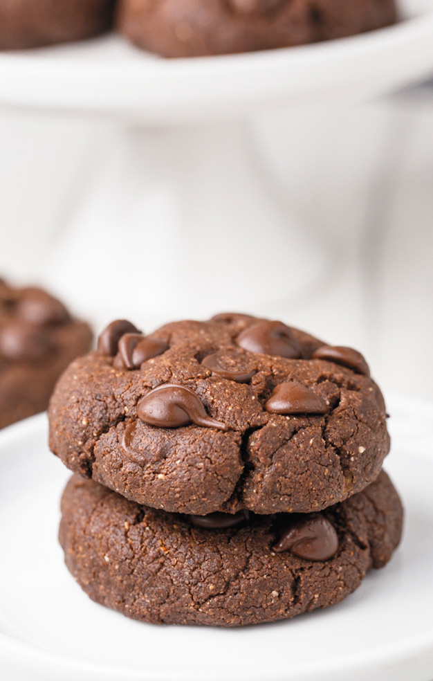 These delicious chocolate coconut flour cookies have the perfect texture and taste just like regular double chocolate cookies! This recipe is paleo with vegan and keto options. With a how-to recipe video.