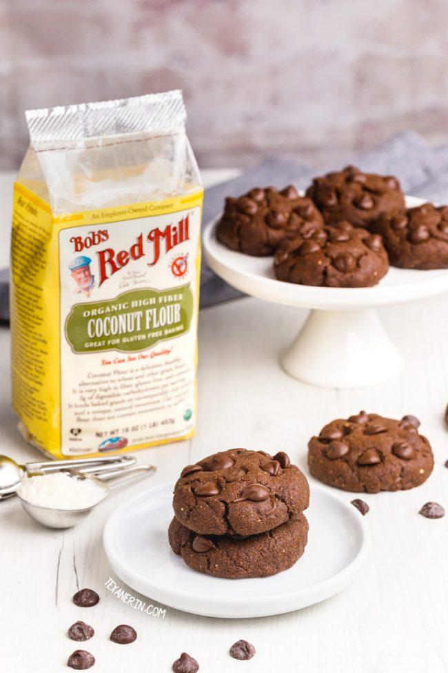 These chewy chocolate coconut flour cookies have the perfect texture and taste just like regular double chocolate cookies! This recipe is paleo with vegan and low-carb options. With a how-to recipe video.