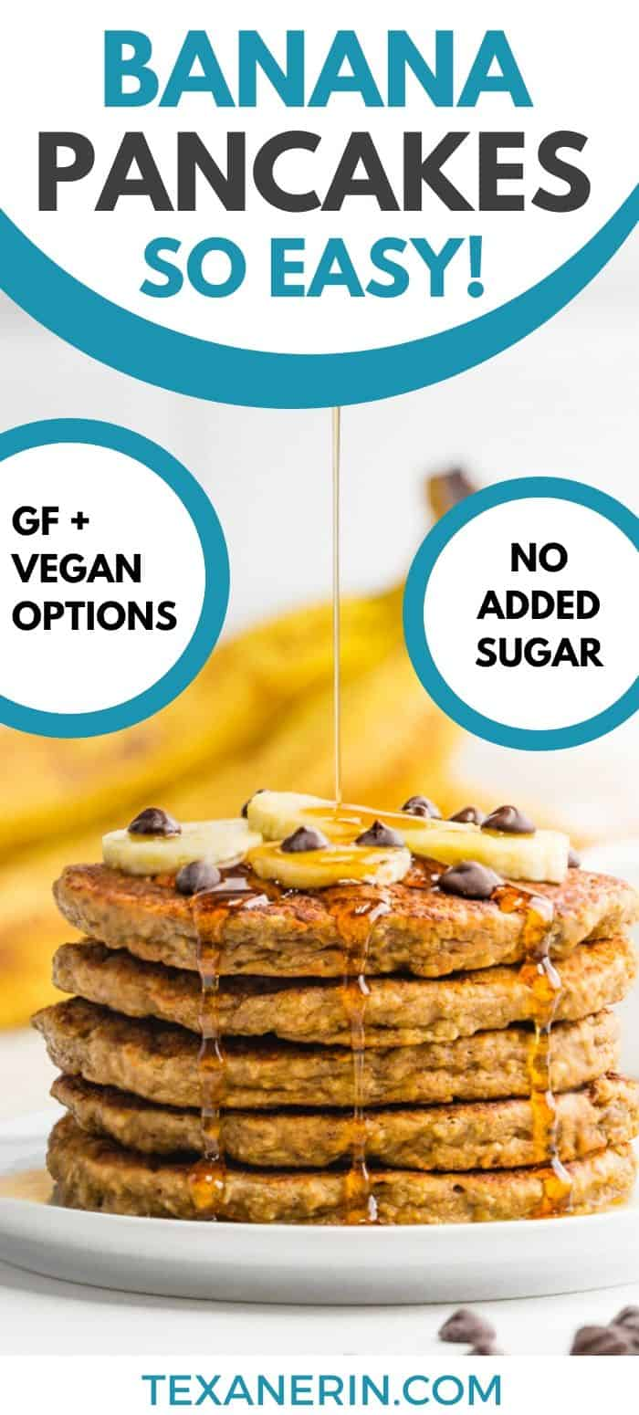 These gluten-free banana pancakes have a great texture and are totally banana-sweetened. They're 100% whole grain and dairy-free with a vegan option.