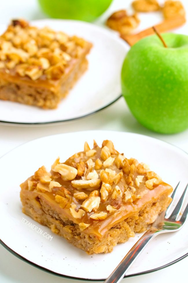 This paleo apple cake is super moist, flavorful and made with a blend of almond and coconut flours for the best texture. With caramel fudge frosting.