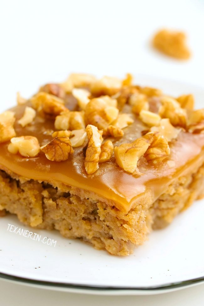 This amazing paleo apple cake is super moist, flavorful and made with a blend of almond and coconut flours for the best texture. With caramel fudge frosting.