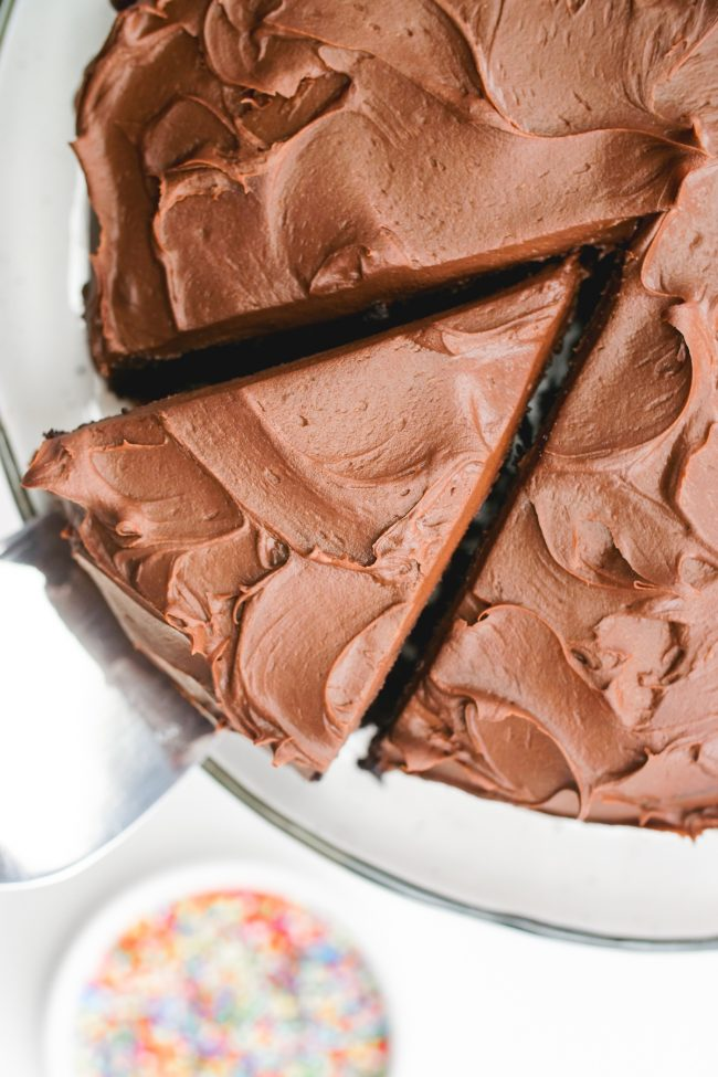 Super moist and delicious vegan chocolate cake that can be made with gluten-free, all-purpose or whole wheat flour. Tastes just like a regular chocolate cake!