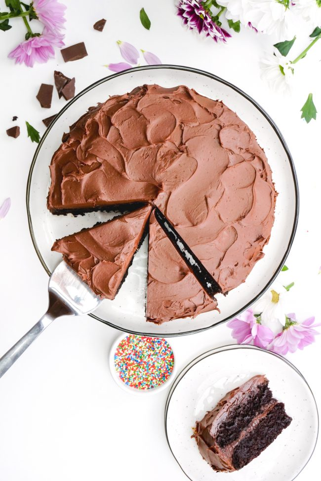 This amazingly delicious vegan chocolate cake is fudgy, super moist, chocolaty and is topped off with an easy whipped chocolate ganache frosting! Can be made gluten-free, whole wheat or with all-purpose flour. Tastes just like a regular chocolate cake!