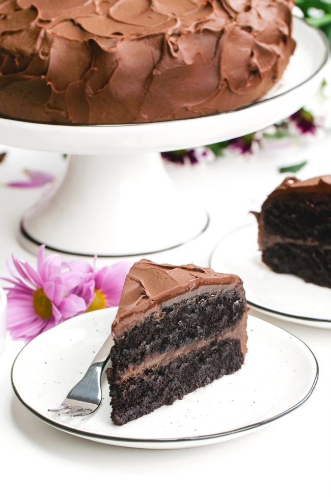 This amazing vegan chocolate cake is fudgy, super moist, chocolaty and is topped off with an easy whipped chocolate ganache frosting! Can be made gluten-free, whole wheat or with all-purpose flour.  Tastes just like a regular chocolate cake!