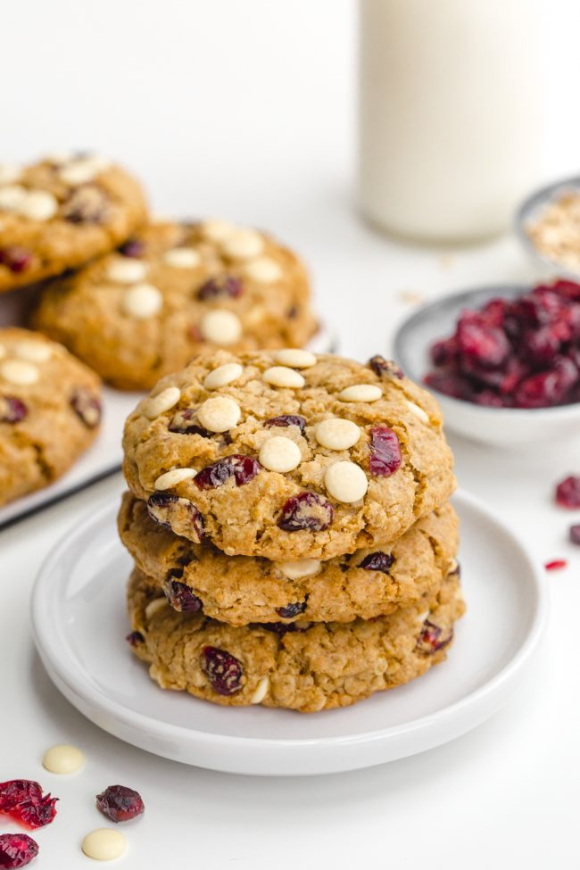 Easy white chocolate cranberry cookies that are soft and chewy and packed with white chocolate chips and dried cranberries. With vegan, gluten-free and whole wheat options.