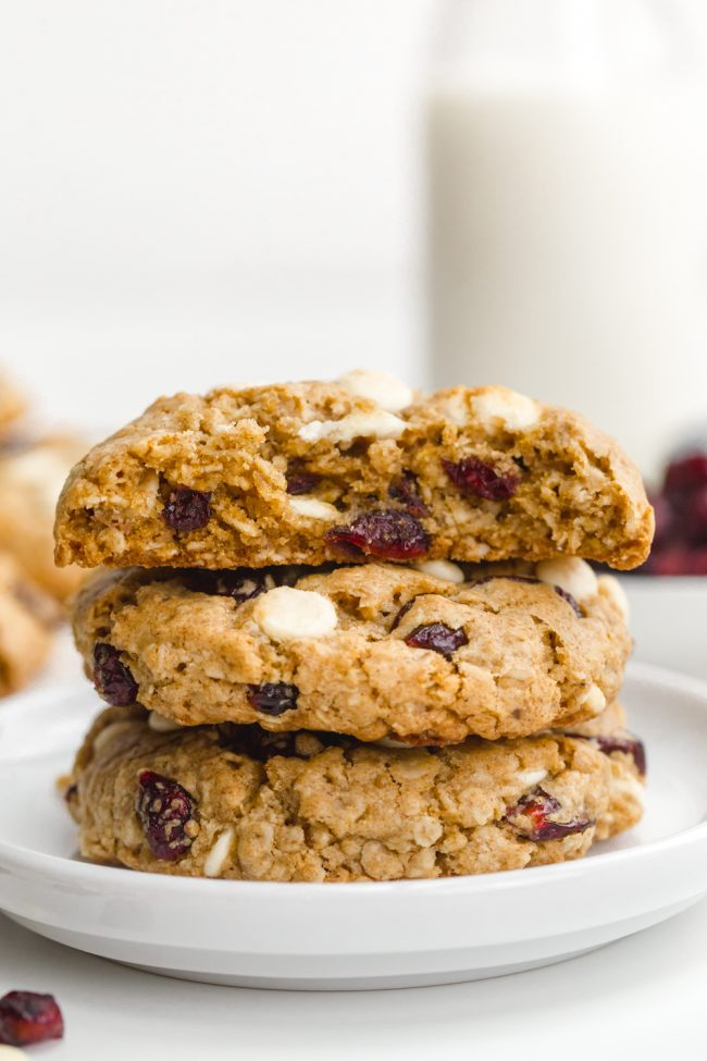 Delicious white chocolate cranberry cookies that are soft and chewy and packed with white chocolate chips and dried cranberries. With vegan, gluten-free and whole wheat options.