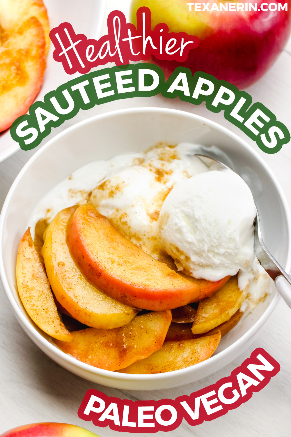 These delicious sauteed apples are lightly sweetened with maple syrup and are quick and easy to prepare! They're also gluten-free, vegan, paleo and dairy-free.