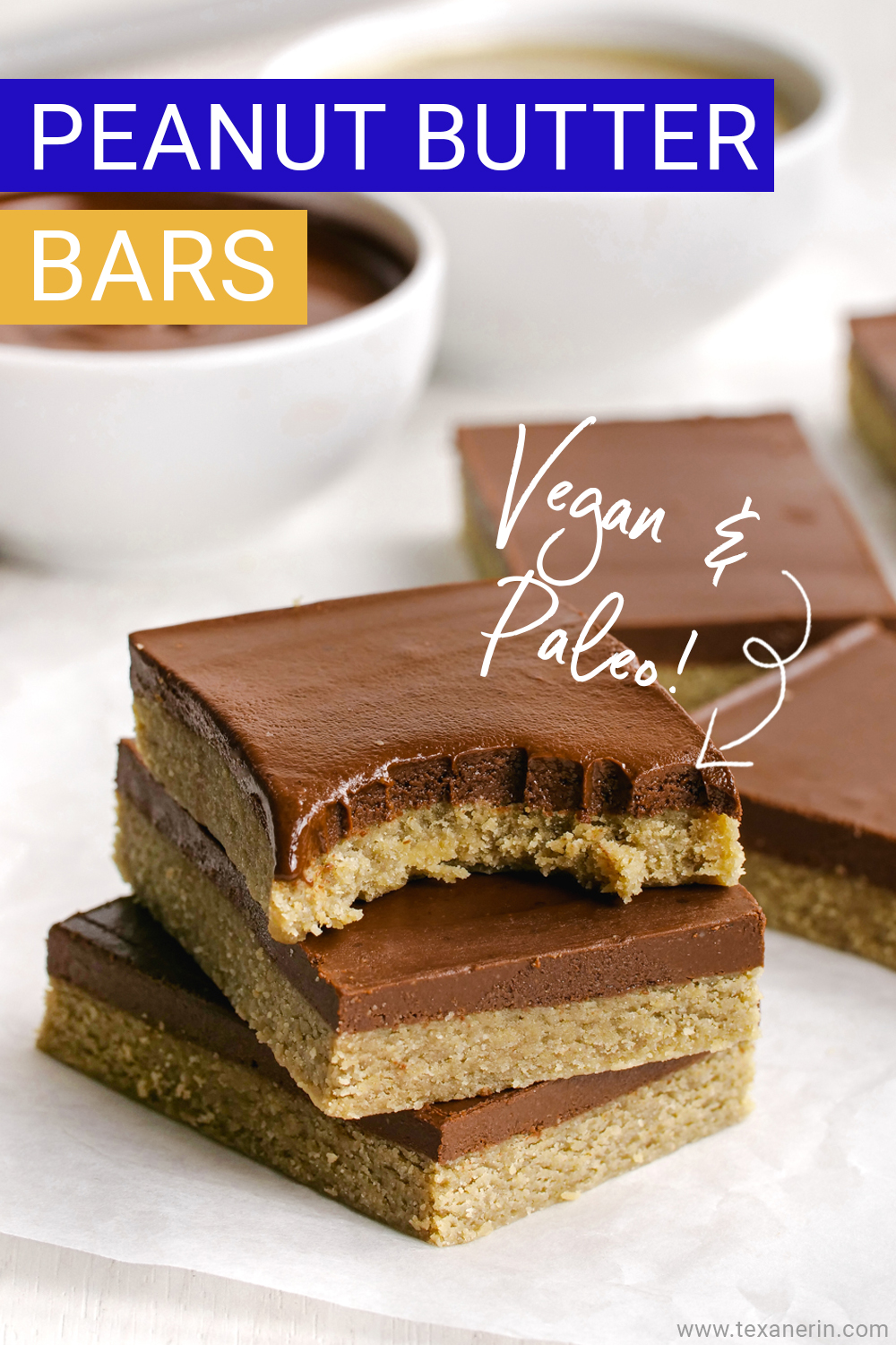 These amazingly delicious paleo peanut butter bars only use 5 ingredients, are no-bake, super easy to put together and are also vegan.