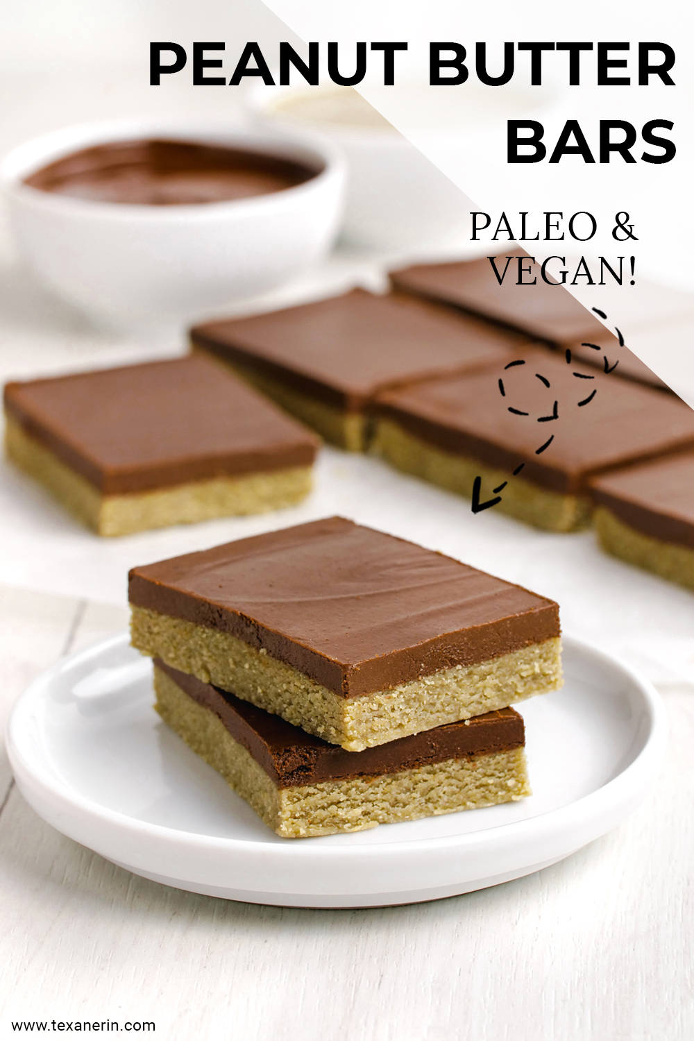 These amazing paleo peanut butter bars only use 5 ingredients, are no-bake, super easy to put together and are also vegan.