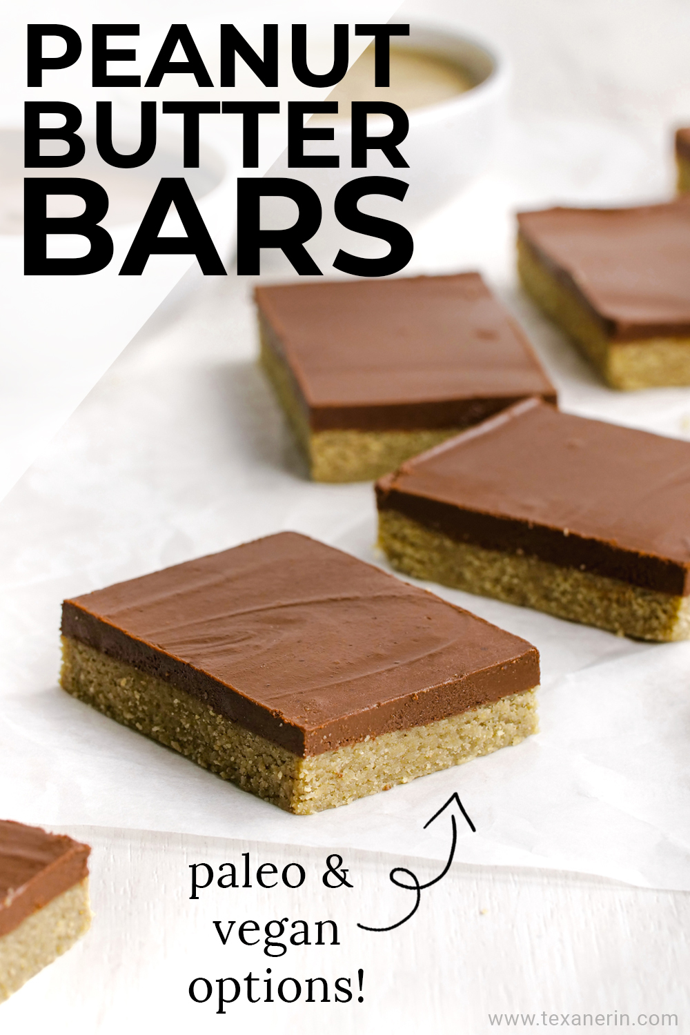 These delicious paleo peanut butter bars only use 5 ingredients, are no-bake, super easy to put together and are also vegan.