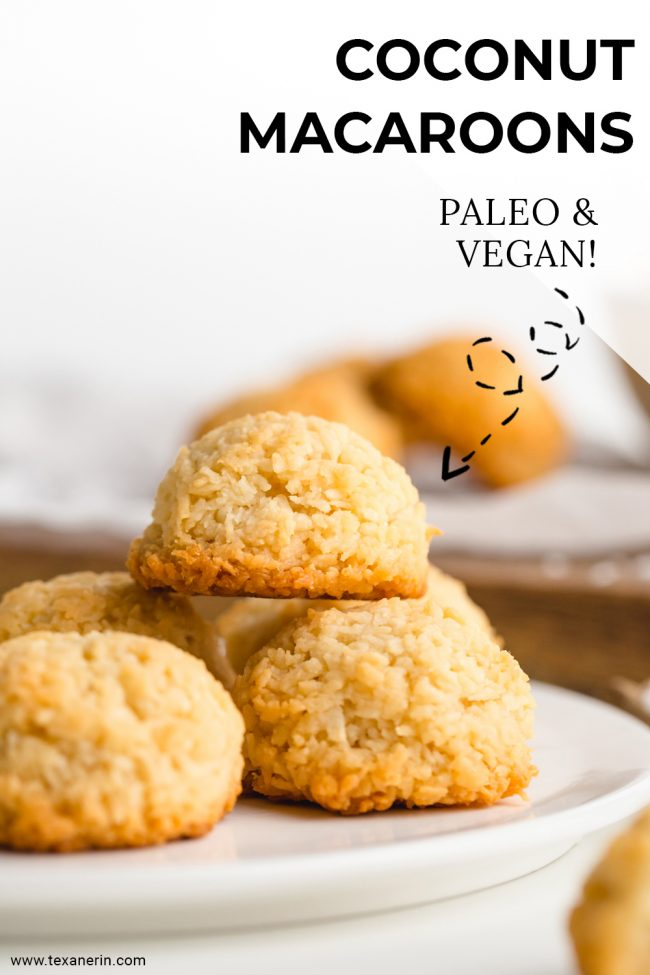 Super easy vegan coconut macaroons that are chewy on the inside and crisp on the outside! They taste like regular macaroons but are paleo and maple-sweetened.