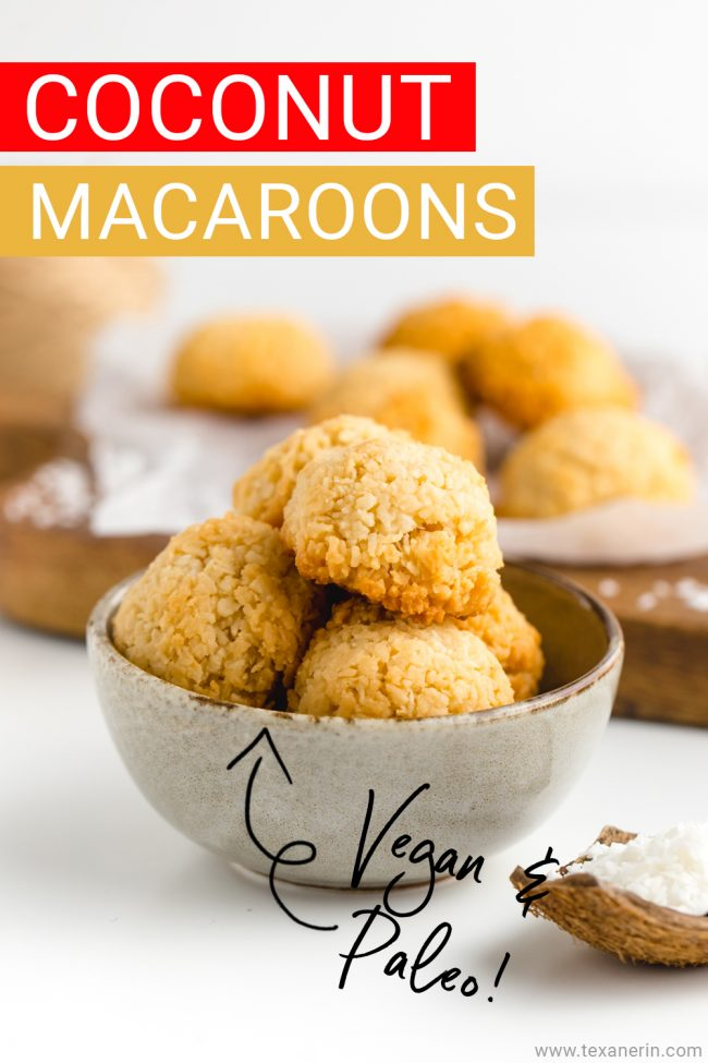 Amazingly easy vegan coconut macaroons that are chewy on the inside and crisp on the outside! They taste like regular macaroons but are paleo and maple-sweetened.