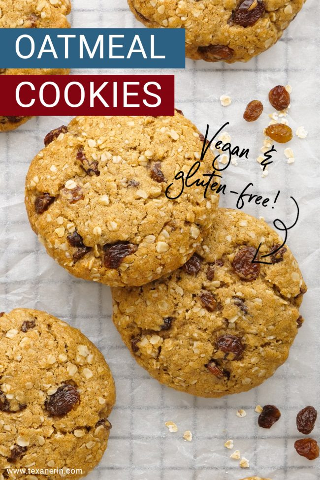These vegan oatmeal cookies are crisp on the outside and chewy on the inside and taste just like traditional oatmeal raisin cookies! Can be made gluten-free, whole wheat or with all-purpose flours.