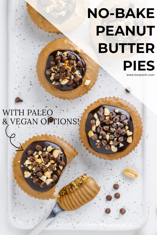 These easy and delicious vegan no-bake peanut butter pies are made a little healthier with the help of bananas, coconut milk and maple syrup. With a paleo option.
