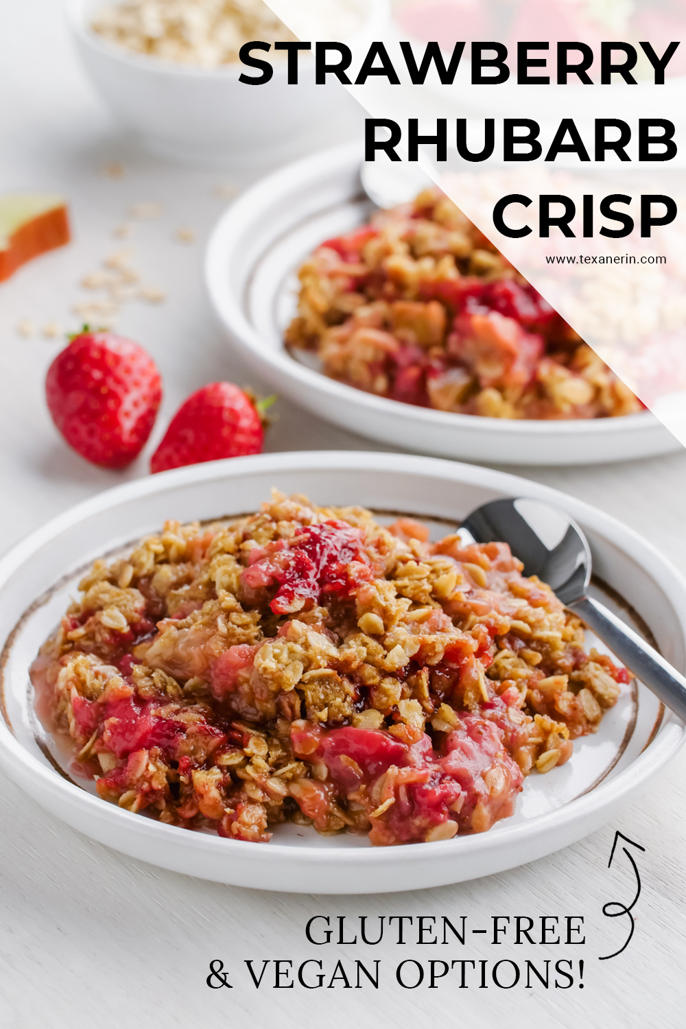 This easy strawberry rhubarb crisp has a thick layer of oat-based topping, is gluten-free, whole grain and can easily be made dairy-free and vegan!!