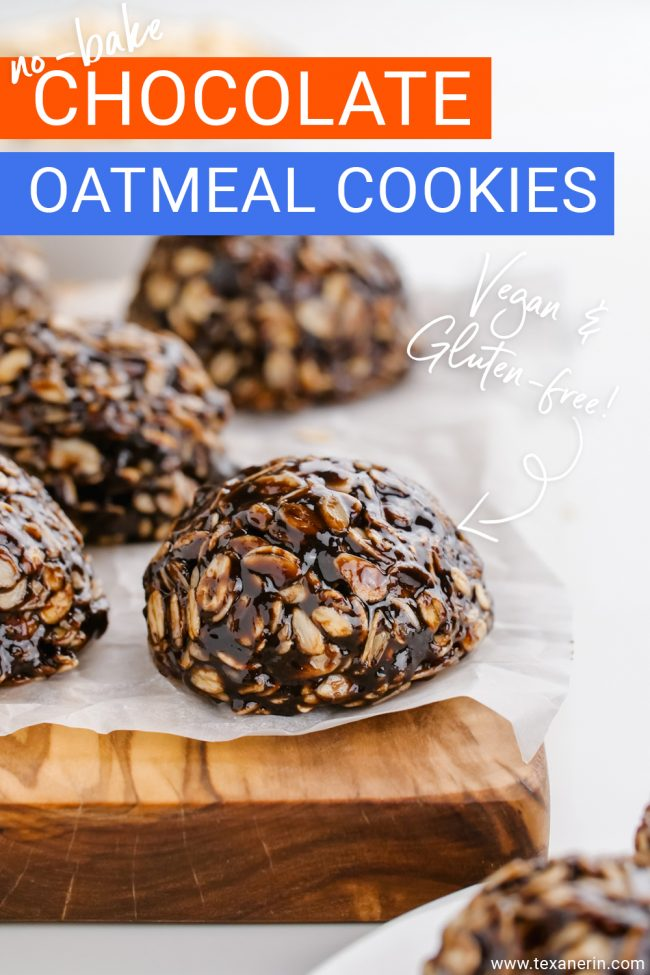 These no-bake chocolate oatmeal cookies are wonderfully chewy, easy to make and are vegan, gluten-free and can be made nut-free, too.