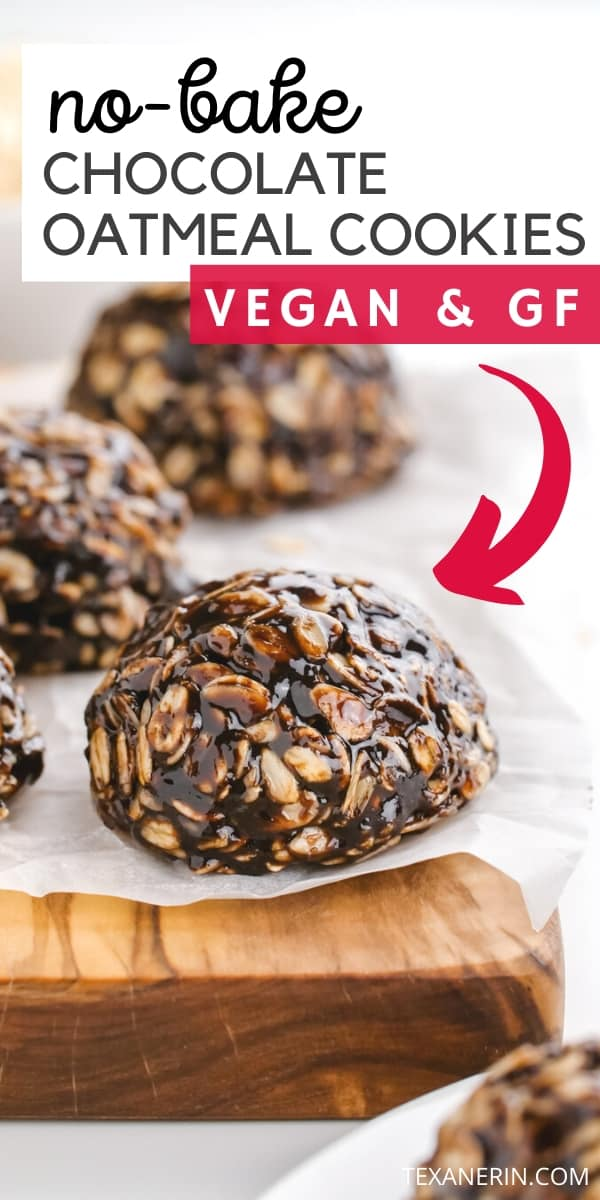 These no-bake chocolate oatmeal cookies are wonderfully chewy, easy to make and are vegan and gluten-free. With a nut-free option.