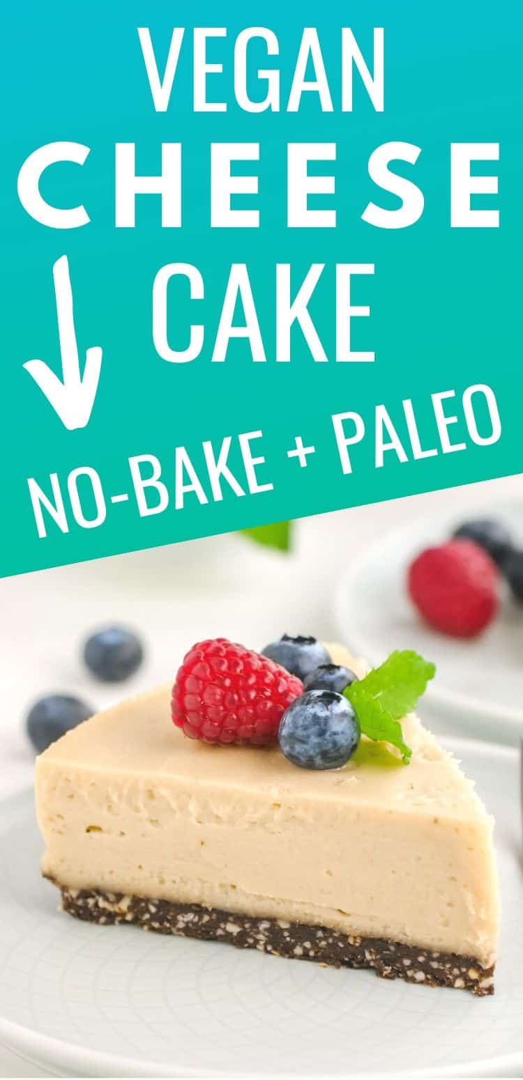 This vegan cheesecake recipe is rich, creamy and so delicious! It's also paleo and no-bake. An amazing vegan dessert!