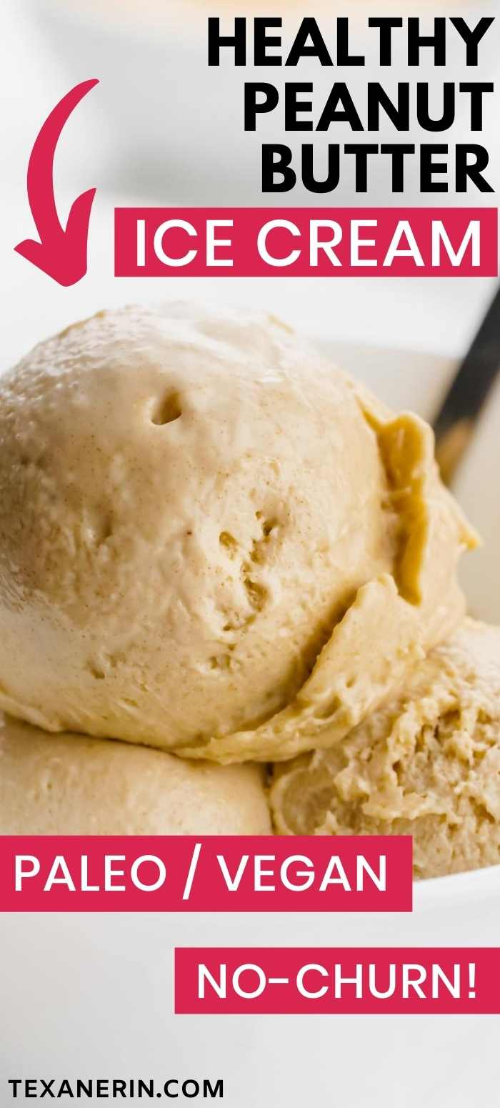 This healthy peanut butter ice cream does not taste at all healthy but is rich, dense and creamy. It's no-cook, no-churn and doesn't freeze rock hard! Can be made with sunflower seed butter for a paleo and nut-free version and it's also vegan.