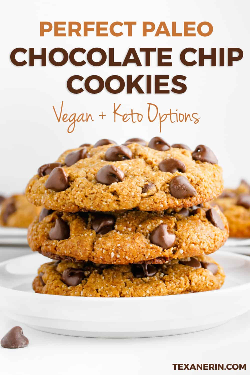 These perfect paleo chocolate chip cookies are thick, chewy and have the perfect texture. Many of the reviewers have called these the best cookies ever and said that nobody had a clue that they were paleo (or even gluten-free)!
