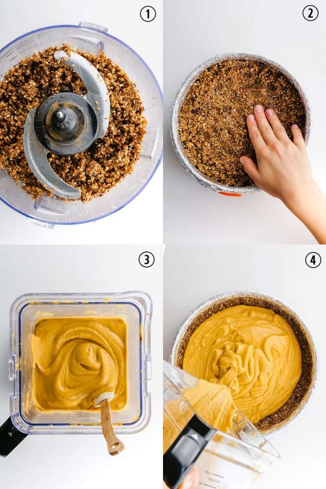 This vegan pumpkin cheesecake is also paleo, no-bake and amazingly creamy. It seriously tastes similar to a traditional pumpkin cheesecake! Grain-free, gluten-free and dairy-free.