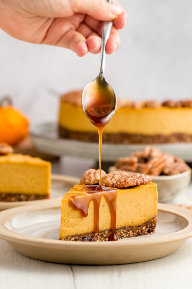 This vegan pumpkin cheesecake is also paleo, no-bake and amazingly creamy. It really tastes similar to a traditional pumpkin cheesecake!