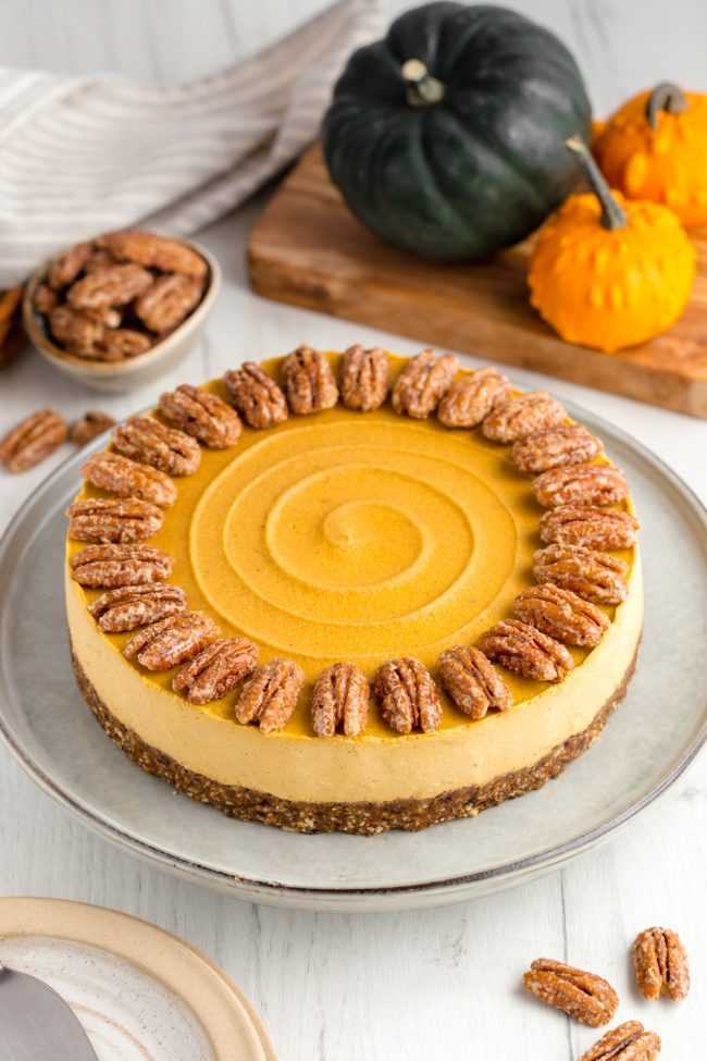 This vegan pumpkin cheesecake is also paleo, no-bake and amazingly creamy. It really tastes similar to a traditional pumpkin cheesecake! Grain-free, gluten-free, dairy-free.