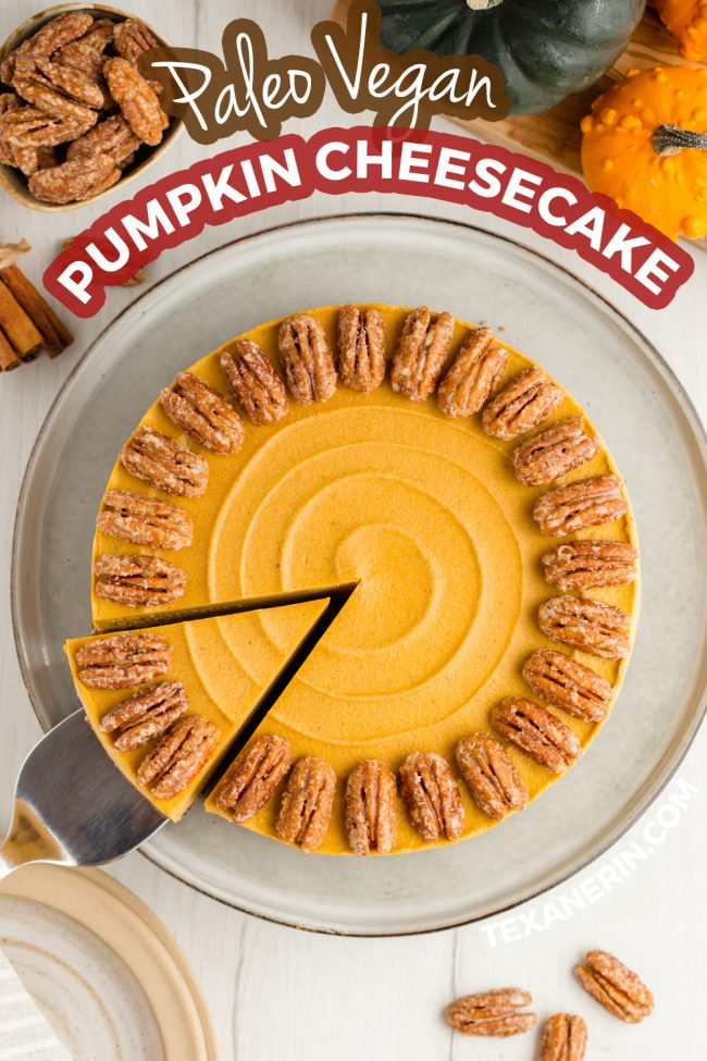 This vegan pumpkin cheesecake is also paleo, no-bake and amazingly creamy. It really tastes similar to a traditional pumpkin cheesecake! Gluten-free, grain-free and dairy-free.