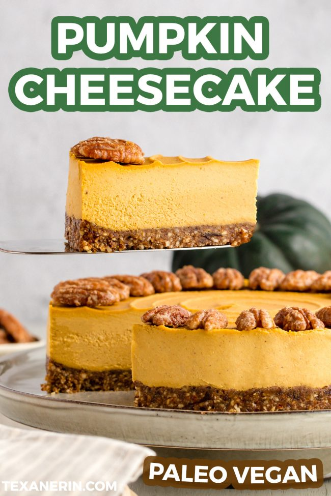This vegan pumpkin cheesecake is also paleo, no-bake and amazingly creamy. It really tastes similar to a traditional pumpkin cheesecake! Grain-free, gluten-free and dairy-free.