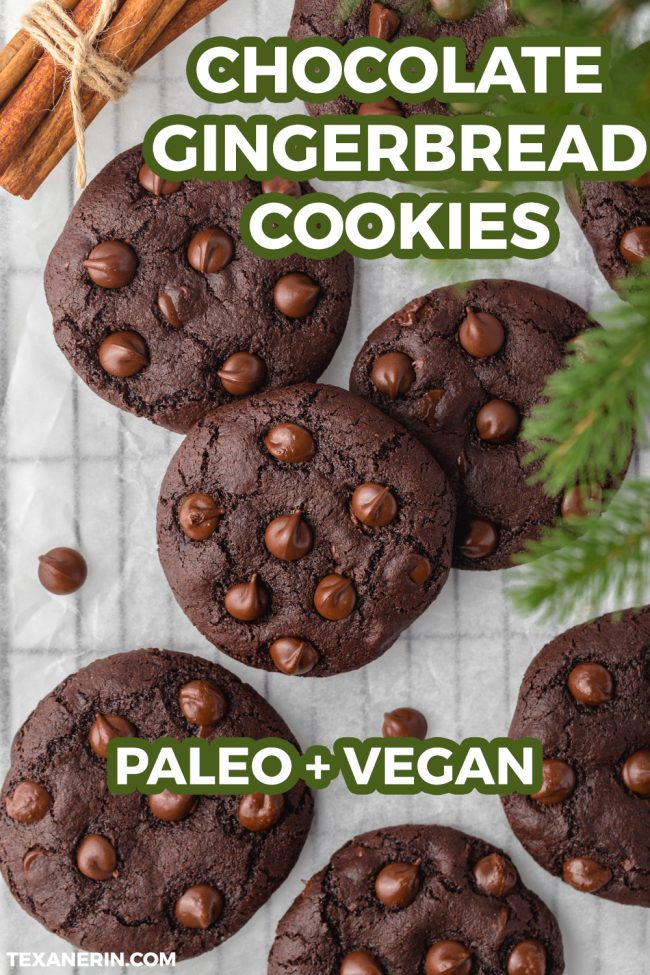 These chocolate gingerbread cookies are perfectly soft, chewy and loaded with spicy Christmas goodness. Includes a vegan option.