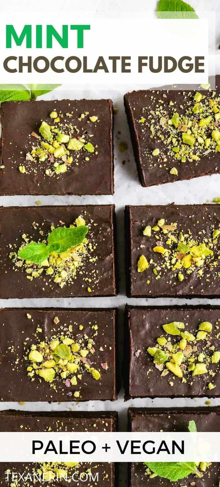 This mint chocolate fudge is creamy, easy to make and is a little healthier than traditional fudge (but no less delicious!). It's also paleo and vegan.