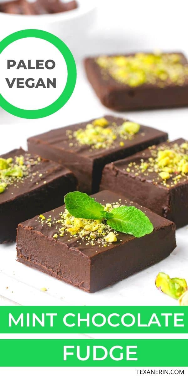 This mint chocolate fudge is creamy, easy to make and is a little healthier than traditional fudge (but no less delicious!). It's also paleo + vegan.