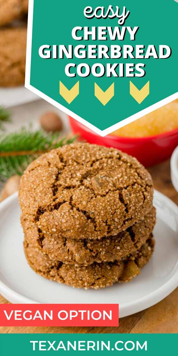 These easy chewy gingerbread cookies are 100% whole grain (but can also be made with all-purpose flour) and have a vegan option. Seriously the best ginger cookies ever!
