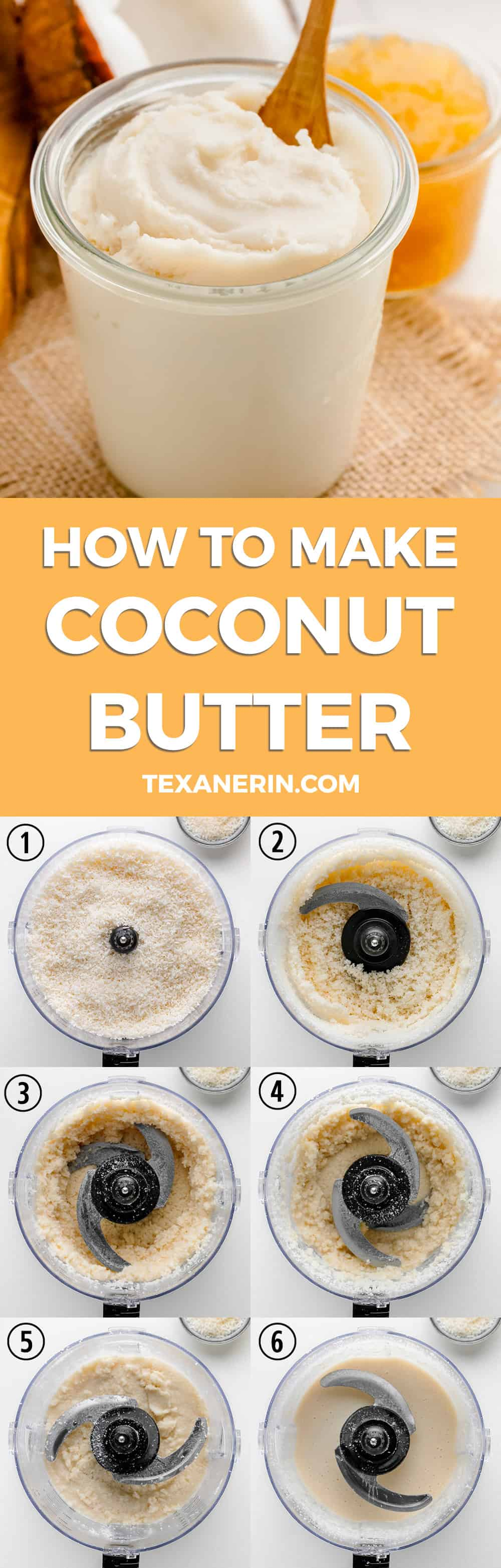 Homemade Coconut Butter – super easy and all you need is shredded coconut and a food processor or high-powered blender! Naturally paleo, vegan, and gluten-free.