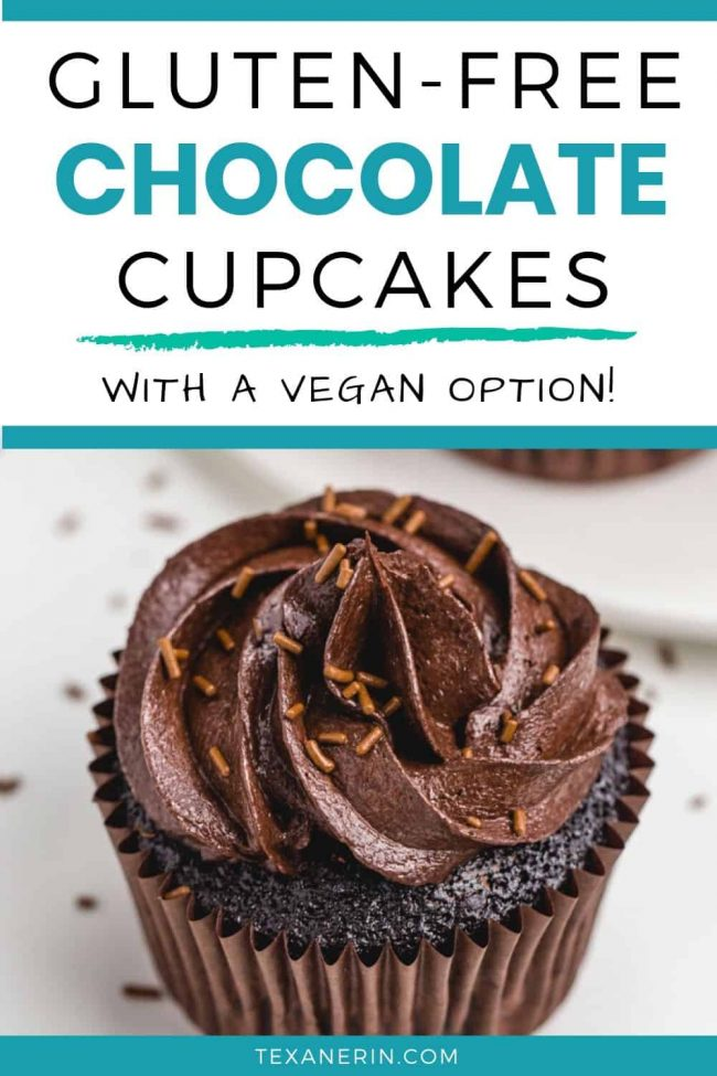 These gluten-free chocolate cupcakes are incredibly moist and just as delicious as traditional cupcakes! With vegan and dairy-free options.