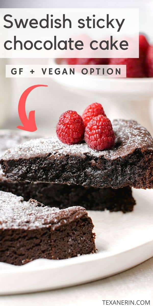 Kladdkaka, also known as Swedish chocolate sticky cake, is amazingly gooey, delicious and only calls for 8 ingredients. This recipe includes a traditional (and whole wheat) option as well as a gluten-free, dairy-free and vegan version.