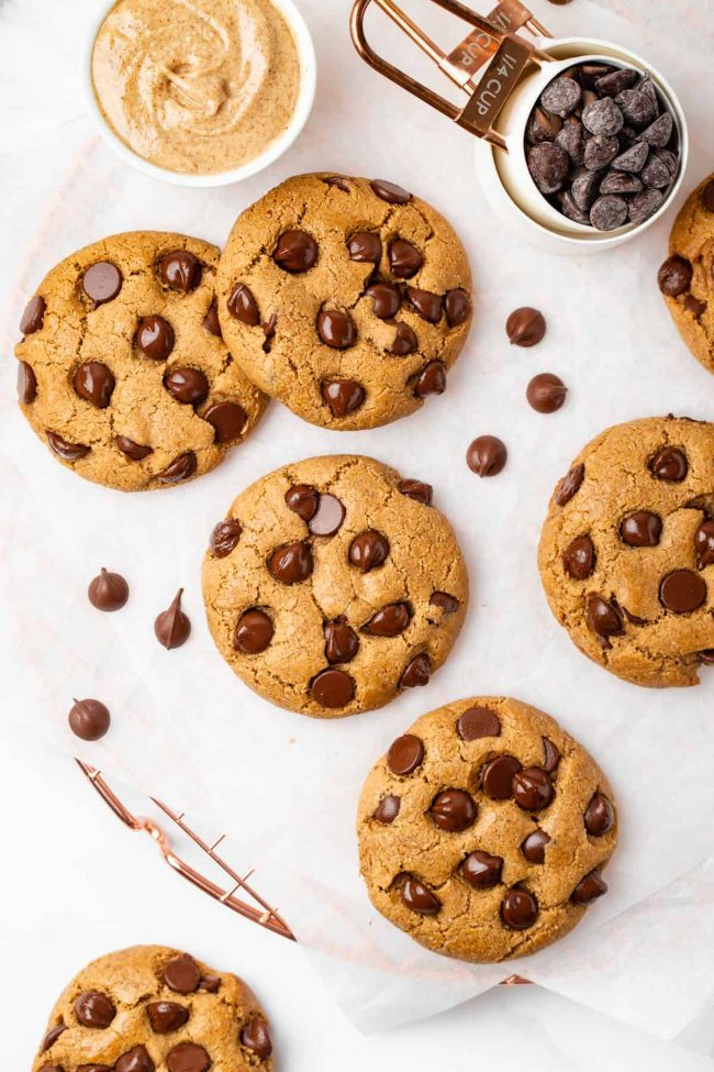These almond flour chocolate chip cookies have a great chewy texture, crisp edges and are paleo with vegan and keto options.