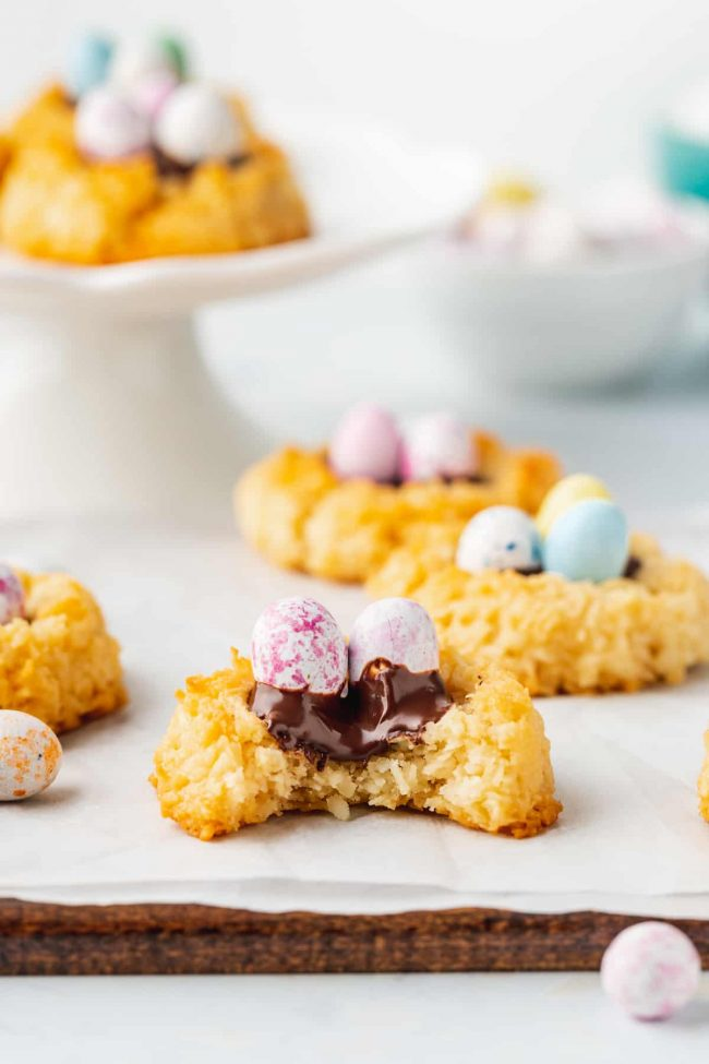 These birds nest cookies are super easy to make and just require 7 ingredients! They can easily be made paleo or vegan. This Easter cookie recipe is also an easy one for kids to help with and uses pantry ingredients.