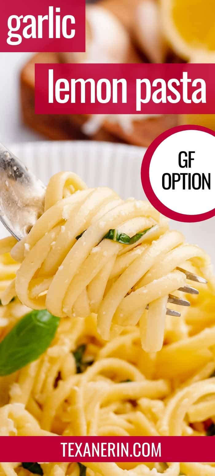 This lemon garlic pasta is the perfect busy weeknight dish! It's great as a main or side dish along with some chicken or fish. Simply use gluten-free pasta to make it gluten-free.