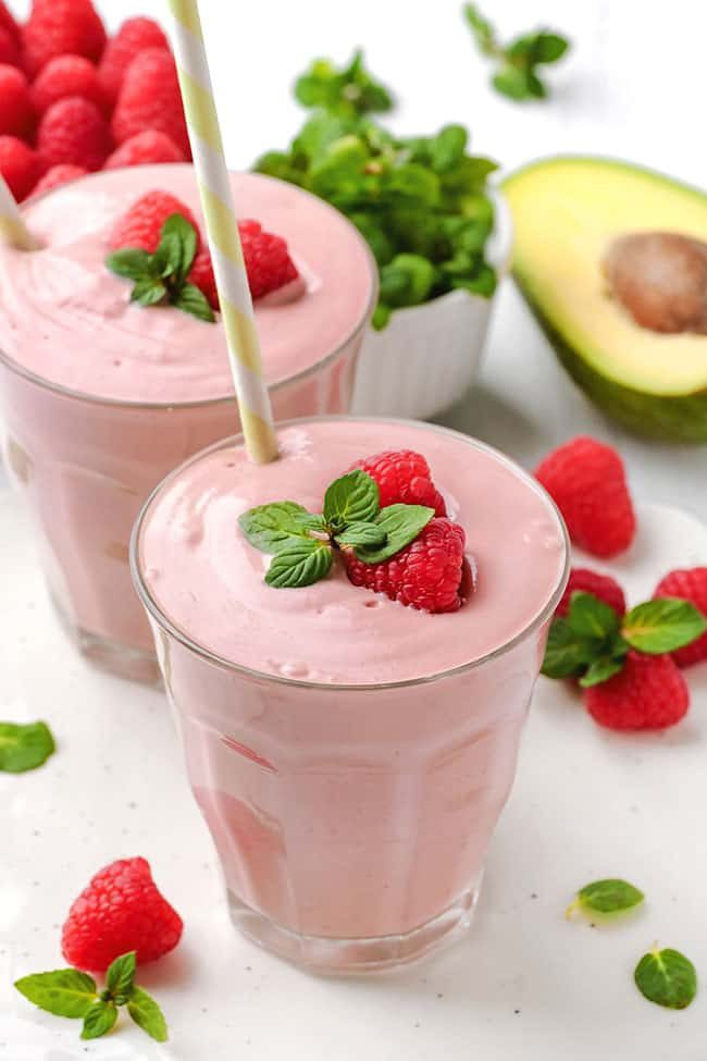 This raspberry smoothie is super thick thanks to bananas, avocado and yogurt and can also be made paleo and vegan by simply using coconut milk yogurt.