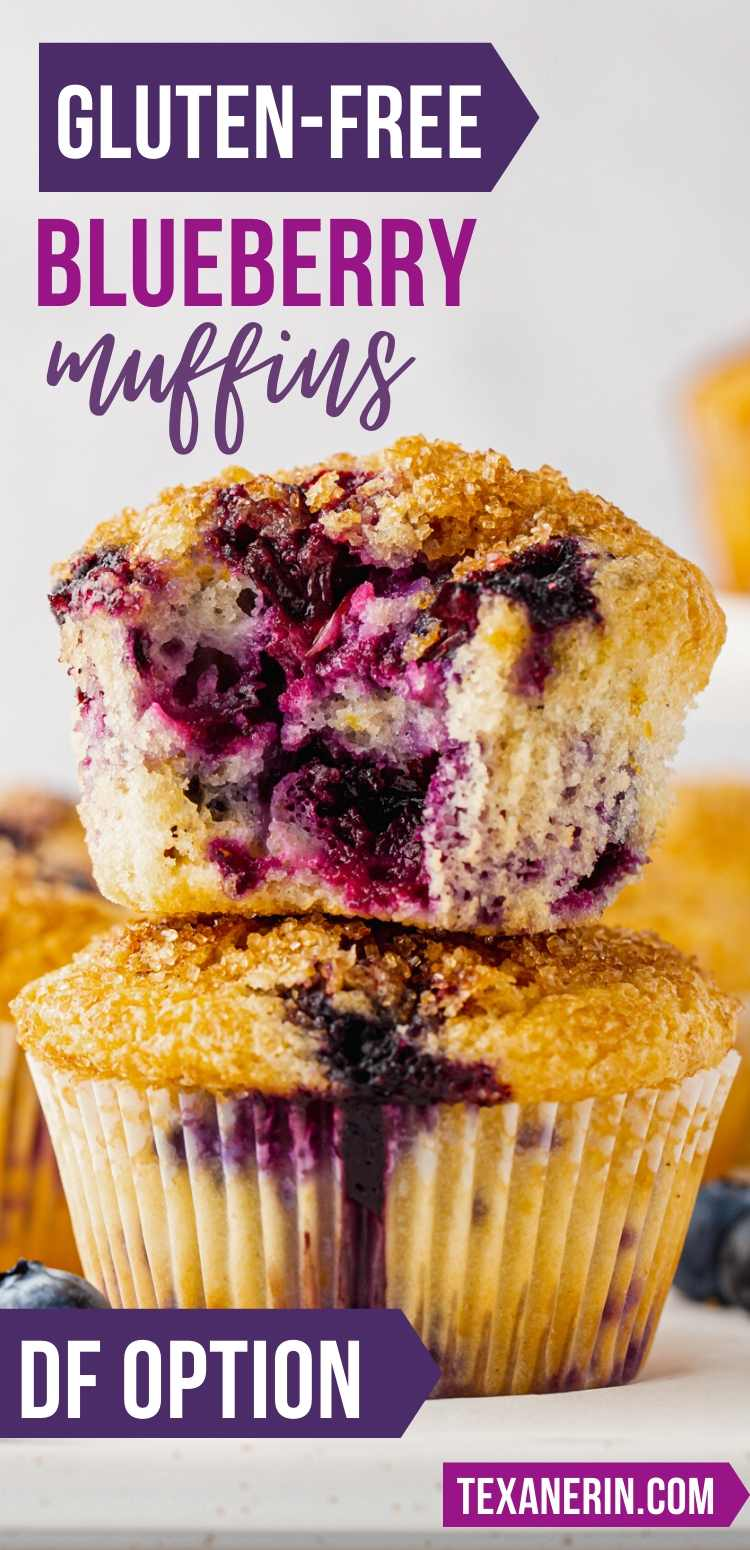 These gluten-free blueberry muffins are easy to make, perfectly sweet with an amazing texture and full of blueberry + lemon flavors. Because they use oil, they're also dairy-free.