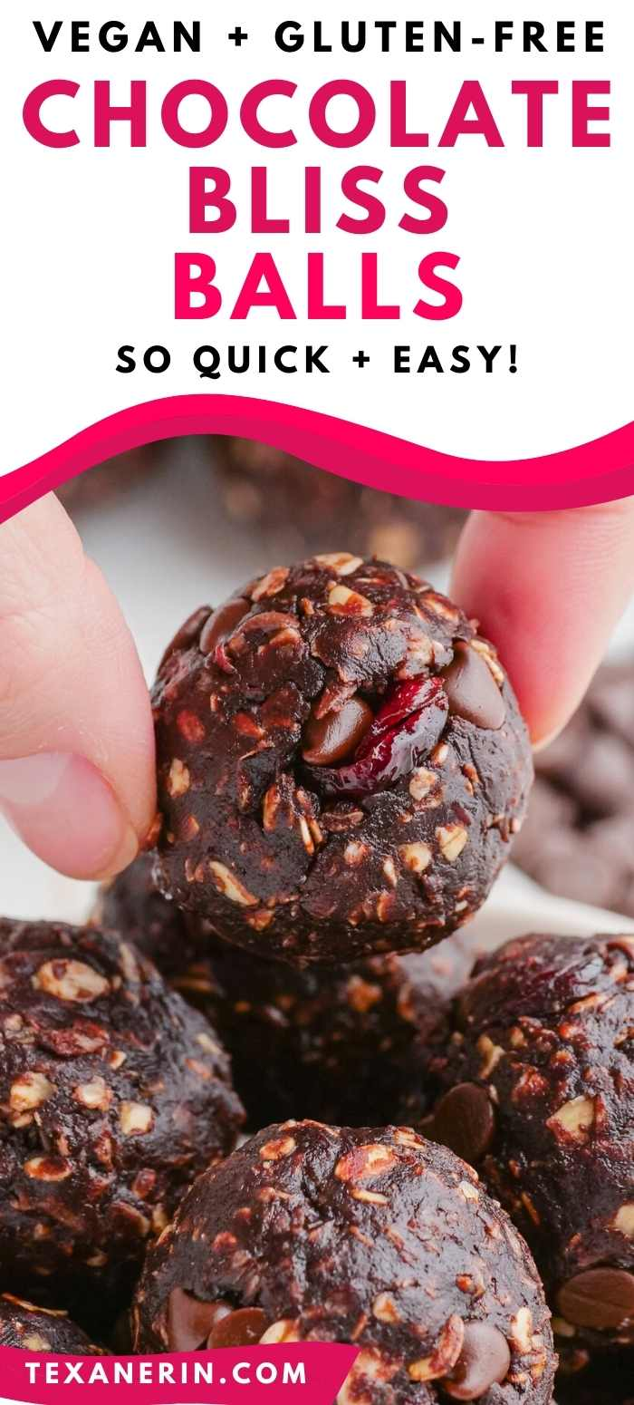 These bliss balls are loaded with chocolate, are no-bake and easy to make gluten-free and vegan. They only call for 6 ingredients and take 5 minutes to make!